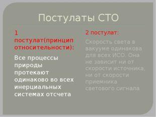 Постулаты СТО 1 постулат(принцип относительности): Все процессы природы проте