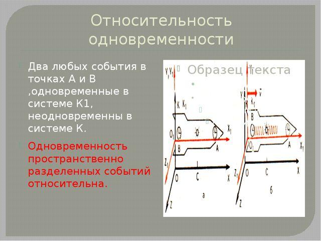 Относительность одновременности Два любых события в точках А и В ,одновременн...