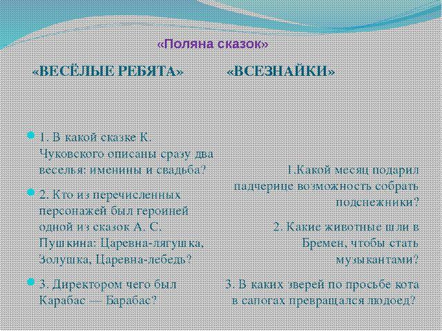 «Поляна сказок» «ВЕСЁЛЫЕ РЕБЯТА» «ВСЕЗНАЙКИ» 1. В какой сказке К. Чуковско...