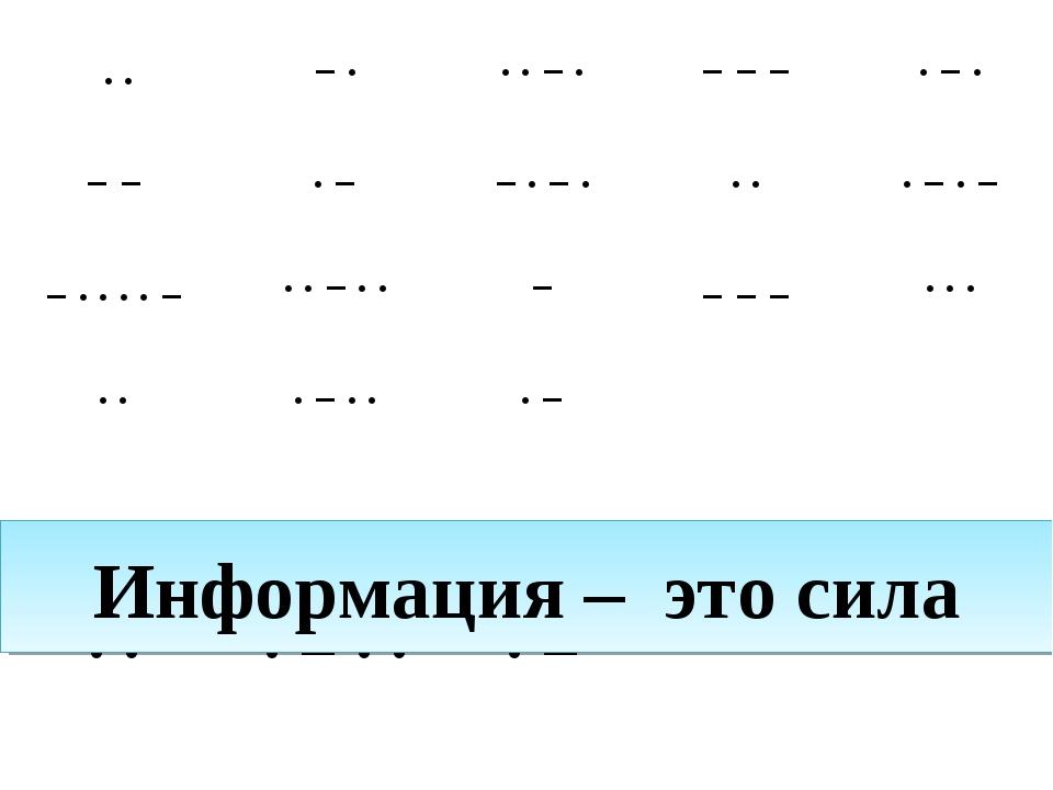 Информация – это сила ··−···−·−−−·−· −−·−−·−····−·...