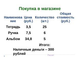 Наличные деньги – 300 рублей Расчет Покупка в магазине НаименованиеЦена (ру