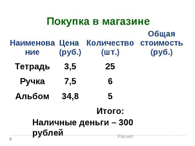 Наличные деньги – 300 рублей Расчет Покупка в магазине НаименованиеЦена (ру...