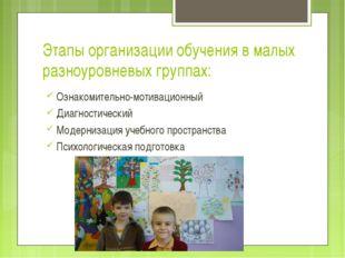 Этапы организации обучения в малых разноуровневых группах: Ознакомительно-мот