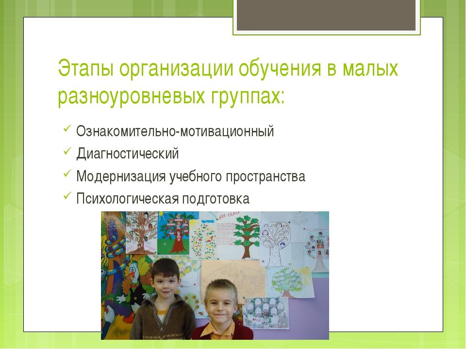 Этапы организации обучения в малых разноуровневых группах: Ознакомительно-мот...