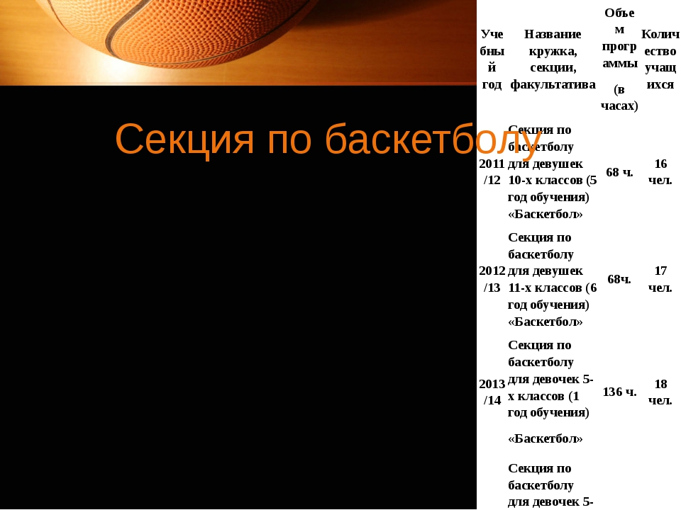 Секция по баскетболу Учебныйгод Название кружка,секции, факультатива Объем пр...
