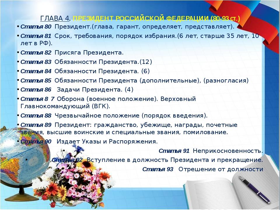 ГЛАВА 4. ПРЕЗИДЕНТ РОССИЙСКОЙ ФЕДЕРАЦИИ (80-93 ст.) Статья 80 Президент.(гла...