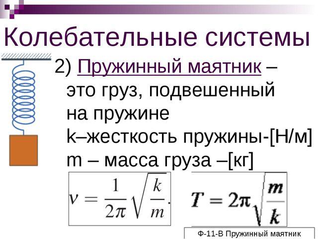 Колебательные системы 2) Пружинный маятник – это груз, подвешенный на пружине...