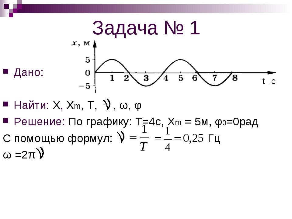 Задача № 1 Дано: Найти: Х, Хm, Т, , ω, φ Решение: По графику: Т=4с, Хm = 5м,...