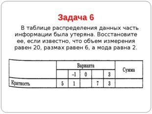 Задача 6 В таблице распределения данных часть информации была утеряна. Восст