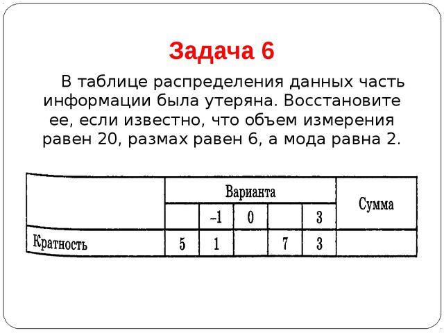 Задача 6 В таблице распределения данных часть информации была утеряна. Восст...