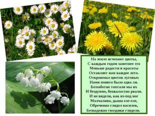 На земле исчезают цветы, С каждым годом заметнее это Меньше радости и красоты