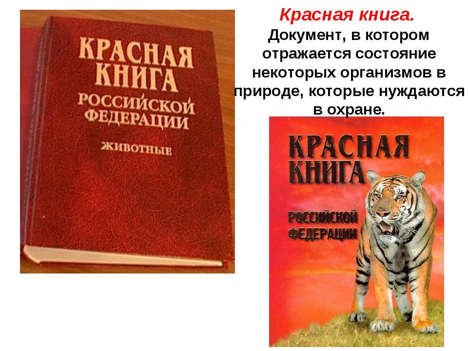 Красная книга. Документ, в котором отражается состояние некоторых организмов...