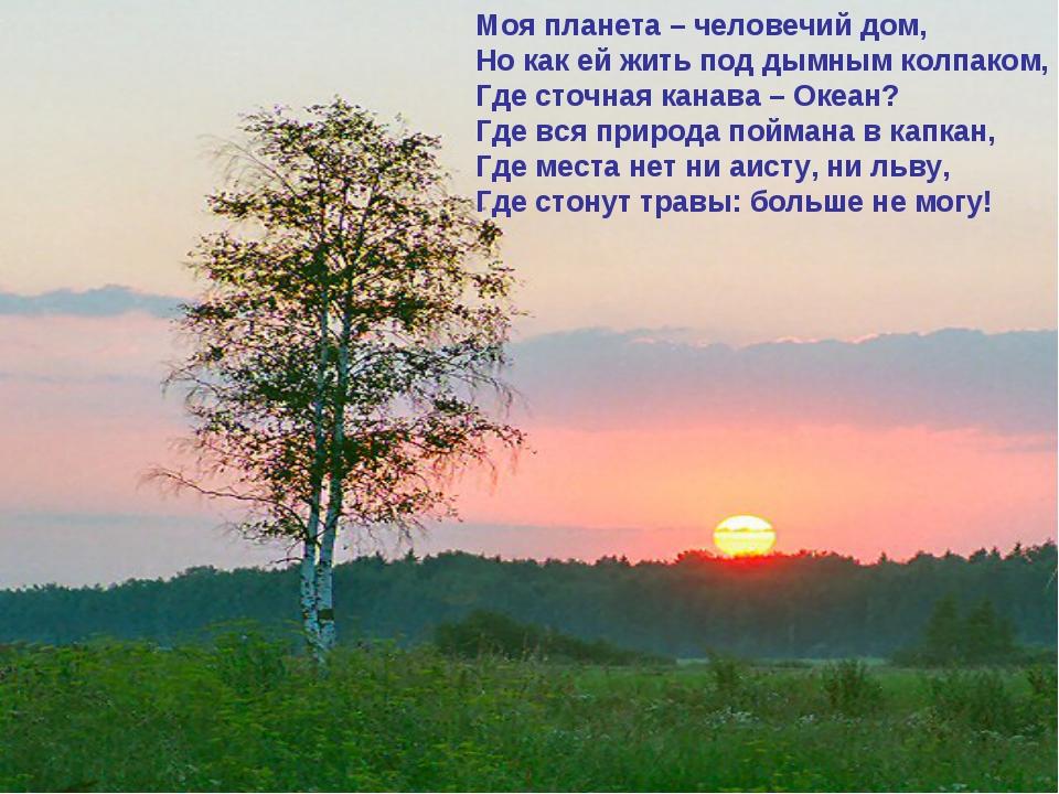 Моя планета – человечий дом, Но как ей жить под дымным колпаком, Где сточная...