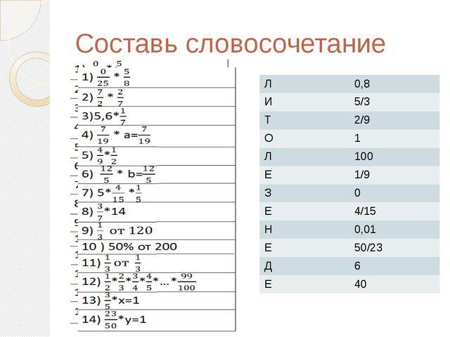 Составь словосочетание Л 0,8 И 5/3 Т 2/9 О 1 Л 100 Е 1/9 З 0 Е 4/15 Н 0,01 Е...