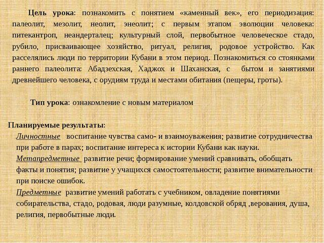 Цель урока: познакомить с понятием «каменный век», его периодизация: палеолит...
