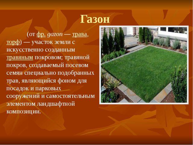 Газон Газо́н(отфр.gazon—трава,торф)— участок земли с искусственно созд...