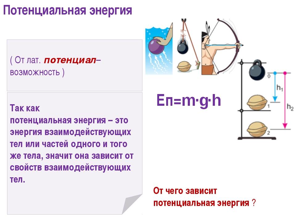 ( От лат. потенциал– возможность ) Так как потенциальная энергия – это энерги...
