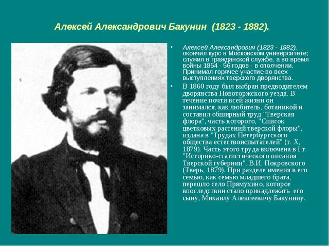 Алексей Александрович Бакунин (1823 - 1882). Алексей Александрович (1823 - 18...