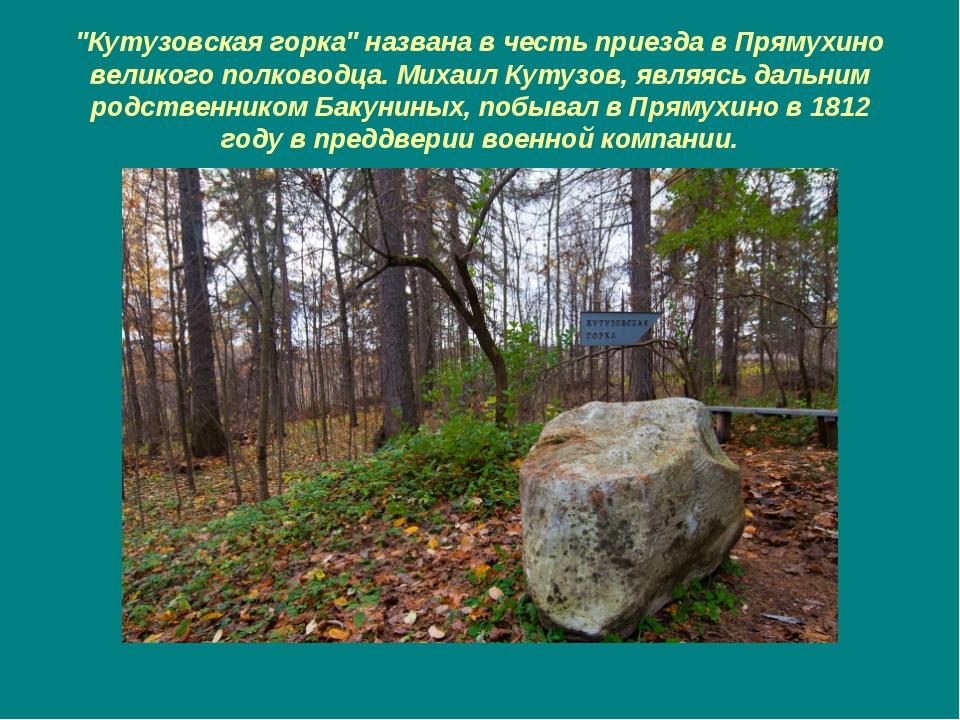 """""""Кутузовская горка"""" названа в честь приезда в Прямухино великого полководца...."""