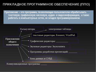 ПРИКЛАДНОЕ ПРОГРАММНОЕ ОБЕСПЕЧЕНИЕ (ППО) Приложение – это программа, позволяю