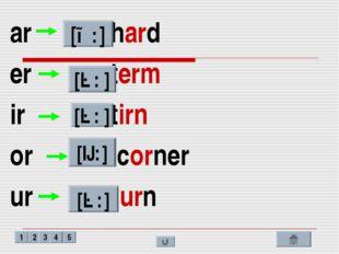 ar - hard er - term ir - tirn or – corner ur - turn [ɑ: ] [ə: ] [ə: ] [ɔ: ] [