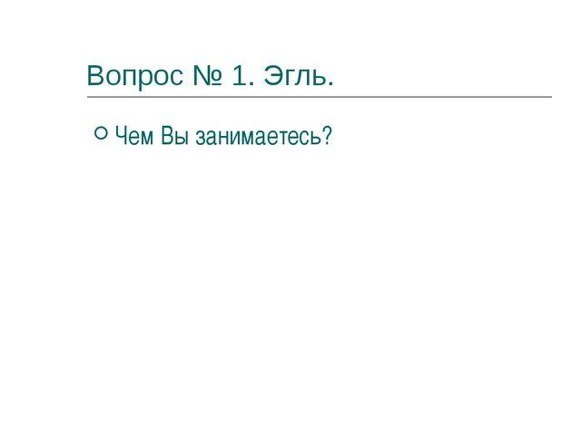 Вопрос № 1. Эгль. Чем Вы занимаетесь?