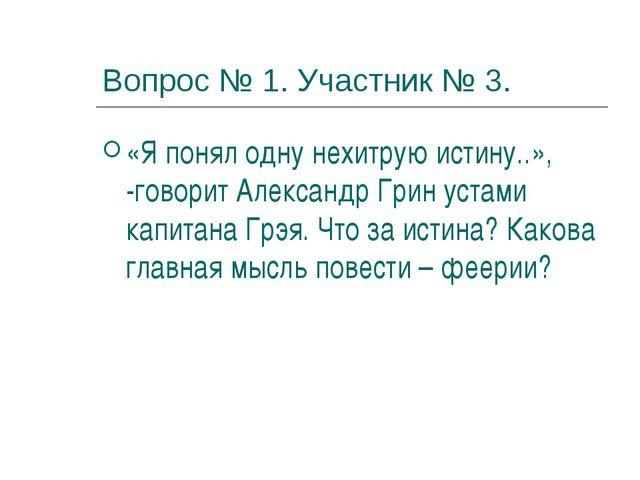 Вопрос № 1. Участник № 3. «Я понял одну нехитрую истину..», -говорит Александ...