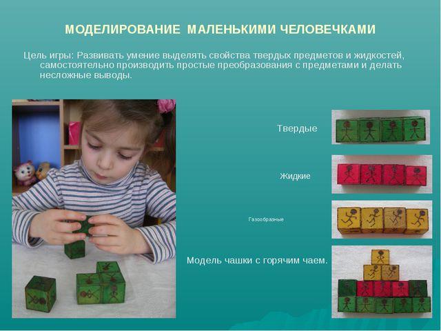МОДЕЛИРОВАНИЕ МАЛЕНЬКИМИ ЧЕЛОВЕЧКАМИ Цель игры: Развивать умение выделять сво...