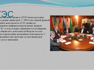 АТЭС Первоначально высшим органом АТЭС были ежегодные совещания на уровне мин