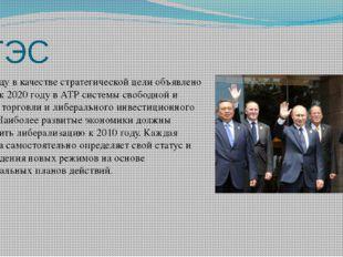 АТЭС В1994 годув качестве стратегической цели объявлено создание к2020 год
