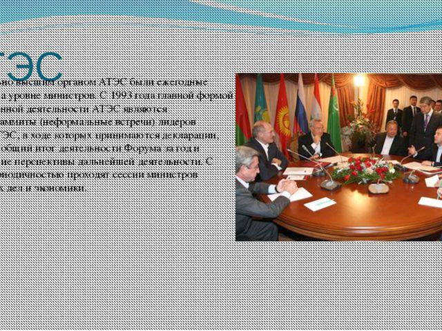 АТЭС Первоначально высшим органом АТЭС были ежегодные совещания на уровне мин...
