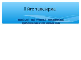 Шығыс Қазақстанның экологиялық проблемасына эссе жазып келу Үйге тапсырма