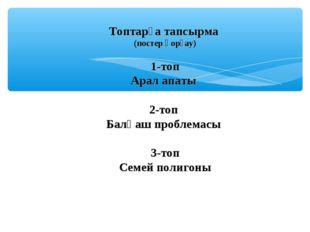 Топтарға тапсырма (постер қорғау) 1-топ Арал апаты 2-топ Балқаш проблемасы 3