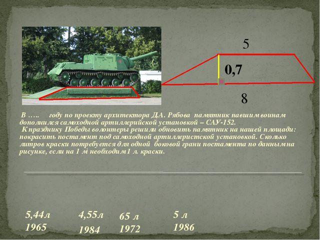 В ….. году по проекту архитектора Д.А. Рябова памятник павшим воинам дополни...