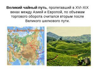 Великий чайный путь, пролегавший в XVI-XIX веках между Азией и Европой, по об
