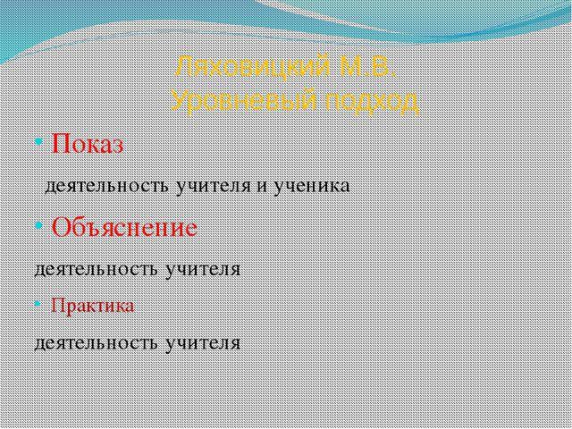 Ляховицкий М.В. Уровневый подход Показ деятельность учителя и ученика Объясне...