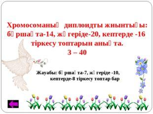 Хромосоманың диплоидты жиынтығы: бұршақта-14, жүгеріде-20, кептерде -16 тірке