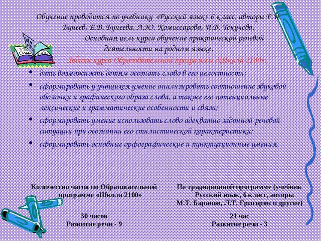 Обучение проводится по учебнику «Русский язык» 6 класс, авторы Р.И. Бунеев, Е...