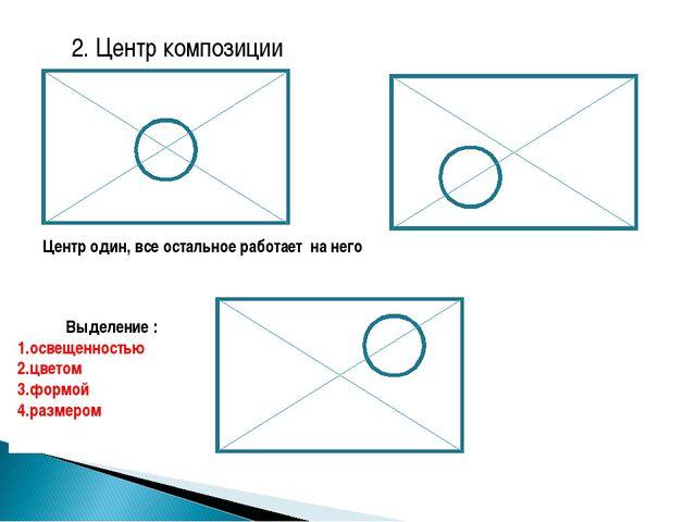 2. Центр композиции Центр один, все остальное работает на него Выделение : о...