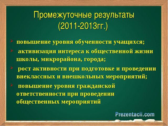 Промежуточные результаты (2011-2013гг.) повышение уровня обученности учащихся...