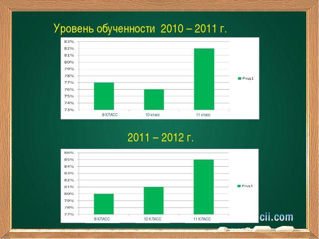 8 КЛАСС 10 класс 11 класс Уровень обученности 2010 – 2011 г. 2011 – 2012 г. 8...