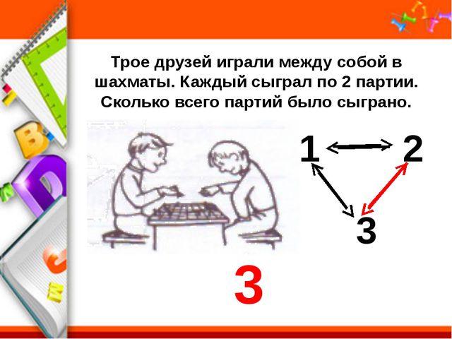 Трое друзей играли между собой в шахматы. Каждый сыграл по 2 партии. Сколько...