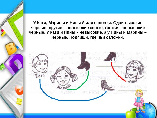 У Кати, Марины и Нины были сапожки. Одни высокие чёрные, другие – невысокие с...