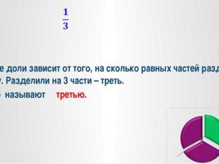 Название доли зависит от того, на сколько равных частей разделили единицу. Р