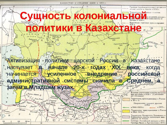 Сущность колониальной политики в Казахстане Активизация политики царской Росс...