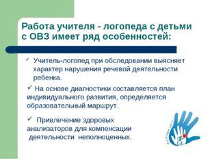 Работа учителя - логопеда с детьми с ОВЗ имеет ряд особенностей: Учитель-лого