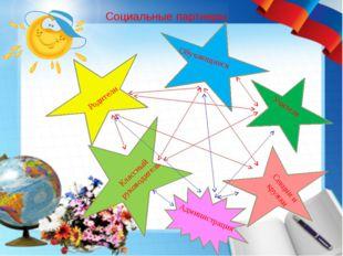 Социальные партнеры Родители Обучающиеся Учителя Классный руководитель Секции