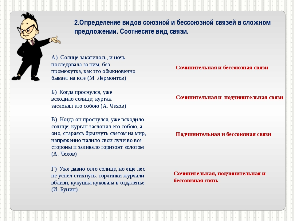 2.Определение видов союзной и бессоюзной связей в сложном предложении. Соотне...