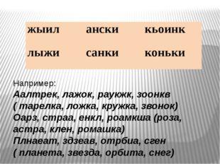 Например: Аалтрек, лажок, раукжк, зоонкв ( тарелка, ложка, кружка, звонок) О