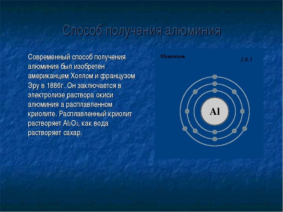 Способ получения алюминия Современный способ получения алюминия был изобрете...